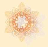 Helder bloemen cirkelpatroon in sinaasappel en lavendelbloemen  Royalty-vrije Stock Afbeeldingen