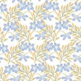 Helder bloemen naadloos ontwerp met blauwe bloemen en gouden bladeren Stock Afbeeldingen