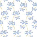 Helder bloemen naadloos ontwerp met blauwe bloemen op witte achtergrond Royalty-vrije Stock Afbeelding
