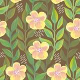 Helder bloemen naadloos ontwerp met gele bloemen Royalty-vrije Stock Afbeelding