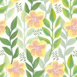 Helder bloemen naadloos ontwerp met gele bloemen Stock Fotografie