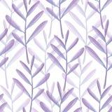 Helder bloemen naadloos ontwerp met purpere bladeren Stock Afbeeldingen