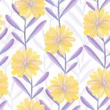 Helder bloemen naadloos ontwerp met purpere bladeren en gele bloemen Stock Foto