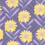 Helder bloemen naadloos ontwerp met purpere bladeren en gele bloemen Stock Fotografie