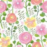 Helder bloemen naadloos ontwerp met ranunculus en andere bloemen Royalty-vrije Stock Foto's