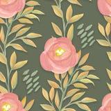 Helder bloemen naadloos ontwerp met ranunculus en bladeren Royalty-vrije Stock Foto's