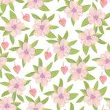Helder bloemen naadloos ontwerp met roze bloemen Stock Afbeelding