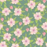 Helder bloemen naadloos ontwerp met roze bloemen Royalty-vrije Stock Afbeeldingen