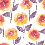 Helder bloemen naadloos ontwerp met waterverfrozen Stock Fotografie