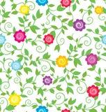 Helder bloemenpatroon met bloemen en krullende takken Stock Afbeeldingen