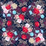 Helder bloemenpatroon met boeketten van rozen, madeliefje en kosmosbloemen stock illustratie