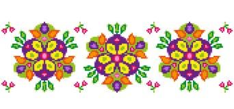 Helder bloemenpatroon voor dwars-stikt Stock Foto's