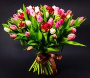 Helder boeket van tulpen op een donkere achtergrond met bloemenachtergrond stock foto