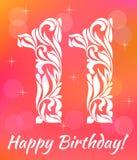 Helder de Uitnodigingsmalplaatje van de Groetkaart Vierend 11 jaar verjaardags Decoratieve doopvont stock illustratie