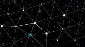 Helder deeltje met wit spoor die zich onder sterren bewegen royalty-vrije illustratie