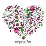 Helder die hart van bloemen in vector wordt gemaakt stock illustratie