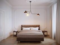 Helder en comfortabel modern slaapkamer binnenlands ontwerp met witte muren, Royalty-vrije Stock Afbeelding