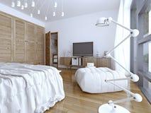 Helder en gloednieuw binnenland van Europese slaapkamer Stock Foto