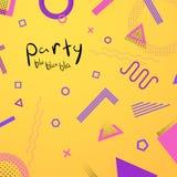 Helder en levendig abstract malplaatje als achtergrond met de oude elementen van stijl geometrische Memphis Royalty-vrije Stock Afbeelding