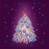Helder feestelijk Nieuw jaar en Kerstkaart Stock Afbeelding
