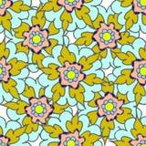 Helder geel hand getrokken bloemen naadloos patroon Stock Afbeeldingen