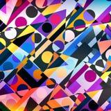 Helder gekleurd cirkels en veelhoeken geometrisch abstract patroon vector illustratie