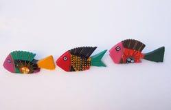 Helder Geschilderde Houten Vissen Stock Foto