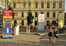 Helder geschilderde segmenten van Berlin Wall Royalty-vrije Stock Foto