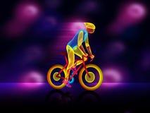 Helder, gloeiend silhouet van fietser op podium Modieuze affiche, banner Vector illustratie vector illustratie