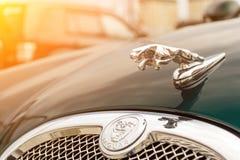 Helder groen Jaguar-s-Type 2007 vooraanzicht stock fotografie