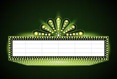 Helder het neonteken van de theater gloeiend groen retro bioskoop Stock Afbeelding