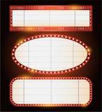 Helder het neonteken van de theater gloeiend retro bioskoop Royalty-vrije Stock Foto's