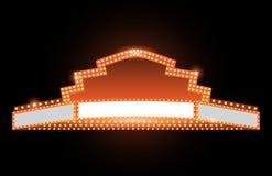 Helder het neonteken van de theater gloeiend retro bioskoop Stock Afbeeldingen