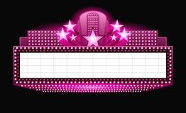 Helder het neonteken van de theater gloeiend roze retro bioskoop Stock Fotografie