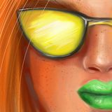 Helder jong meisje met rood haar en sproeten in gele glazen in de stijl van het schilderen royalty-vrije stock foto