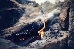 Helder kampvuur Brand in het marcheren voorwaarden Stock Foto's