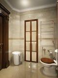 Helder klassiek traditioneel van de wasserijruimte en badkamers binnenland Stock Fotografie