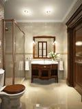 Helder klassiek traditioneel van de wasserijruimte en badkamers binnenland Stock Foto