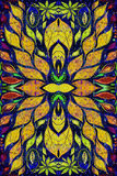 Helder kleurrijk ethiek Indisch patroon Collage met hand - gemaakte waterverfvlekken, bloemblaadjes, bladerenbloemen De achtergro Stock Afbeeldingen
