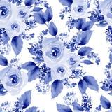 Helder kleurrijk naadloos patroon met bloemen van rozen en bes royalty-vrije illustratie