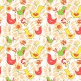 Helder kleurrijk strippaginapatroon met vogels en pamfletten Royalty-vrije Stock Afbeelding