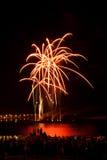 Helder kleurrijk vuurwerk in de nachthemel Royalty-vrije Stock Afbeeldingen