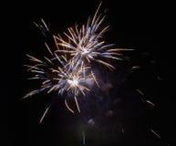 Helder kleurrijk vuurwerk en begroeting Stock Foto's