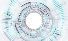Helder krachtig technologiemalplaatje met de witte ruimte van de cirkeltekst Royalty-vrije Stock Foto