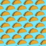 Helder Mexicaans fastfood naadloos patroon met taco's op blauwe achtergrond royalty-vrije illustratie