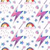 Helder mooi mooi leuk fee magisch kleurrijk patroon van magische elementen: bliksem, regenboog, toverstokje, harten, sterrenwater royalty-vrije illustratie