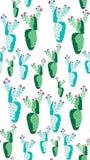 Helder mooi verfijnd Mexicaans tropisch bloemen kruiden de zomer groen naadloos patroon van Hawaï van een cactusverf zoals kindve Stock Fotografie