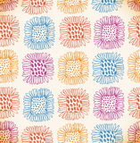 Helder naadloos bloemenpatroon Decoratieve leuke achtergrond met zonnebloemen Hand getrokken krabbeltextuur Royalty-vrije Stock Afbeelding