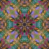 Helder naadloos grunge kleurrijk etnisch Indisch patroon Collage met hand - gemaakte waterverfvlekken, bloemblaadjes, bladeren en Royalty-vrije Stock Foto's