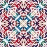 Helder naadloos grunge kleurrijk etnisch Indisch patroon Collage met hand - gemaakte waterverfvlekken, bloemblaadjes, bladeren en Royalty-vrije Stock Afbeelding